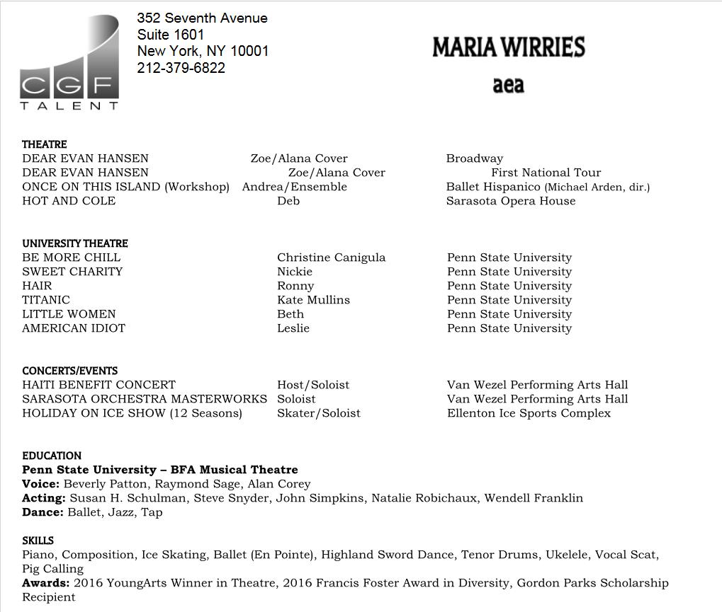 image Maria's resume